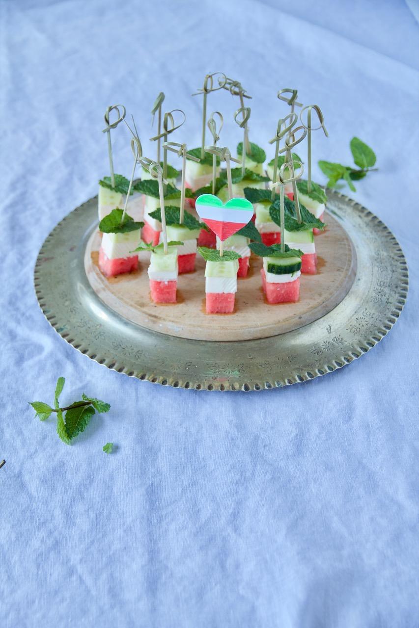 Panir Hendevaneh - Persische Wassermelonen-Feta-Spieße als Snack für die WM-Party