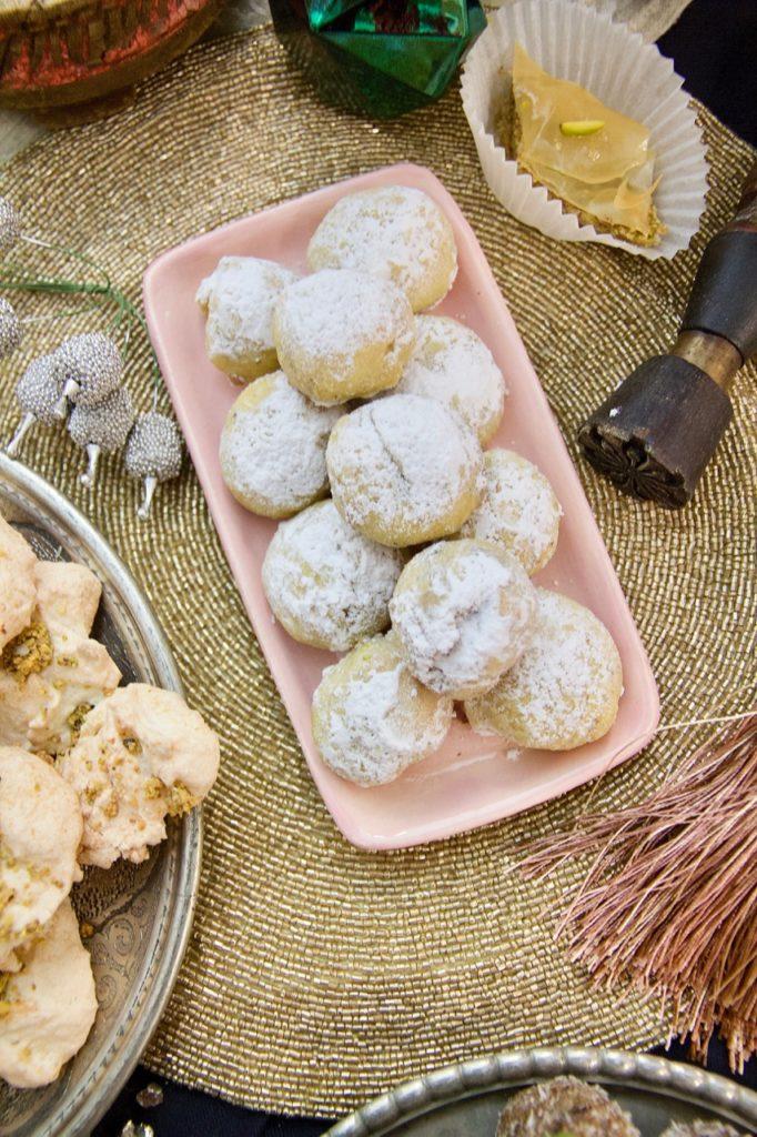 Ghotab - persische Kekse mit Pistazien-Rosenwasser-Kardamom Füllung für Nowrooz