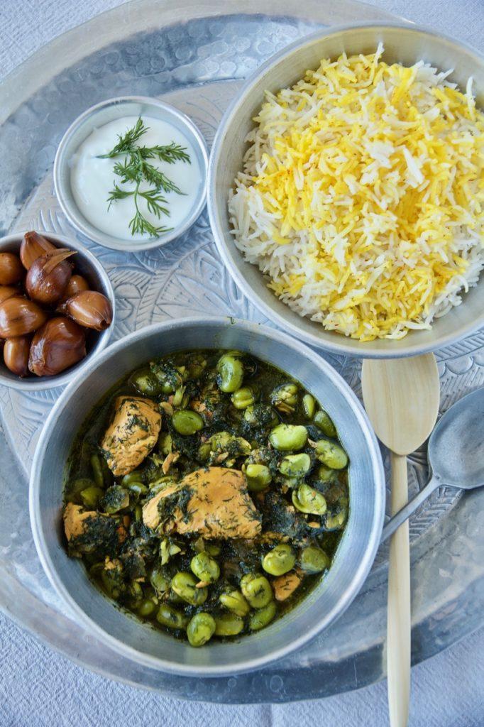Khoresht-e Baghali - Dicke-Bohnen-Ragout mit Safran-Huhn